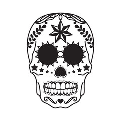 Mexican skull tattoo in black on a white background