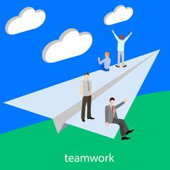 Teamwork startup isometric vector