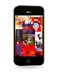 Touchscreen smartphone with cloud of colorful application, vector