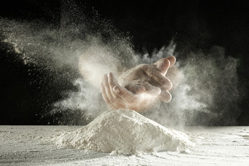 hands and flour