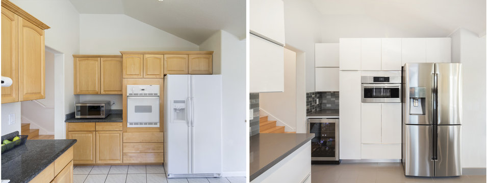Kitchen interior Before and After remodelling.
