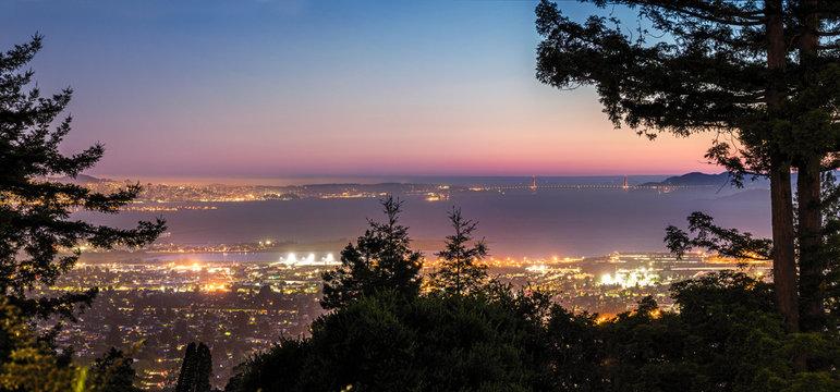 Panorama Night View of San Francisco Bay, East Bay, Oakland, Golden Gate bridge
