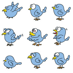 Set of funny birds isolated on white background. Doodle vector illustration.