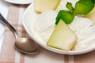 Close up of ice-cream with   mint and melon  in white plate