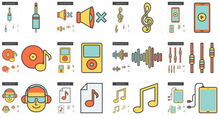 Music line icon set.