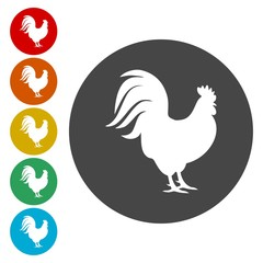 Rooster silhouette icons set