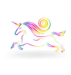 Unicorn horse rainbow logo