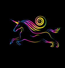 Rainbow unicorn logo background
