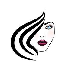 Woman face pretty girl logo vector