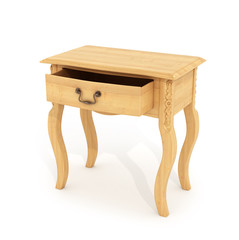 Table, wooden bedside table with open drawer, night table. 3D il