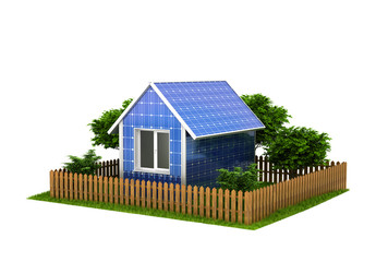 Concept of the solar house battery. A house made of solar panels