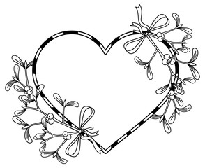 Heart-shaped frame and mistletoe. Copy space. Outline vector image.