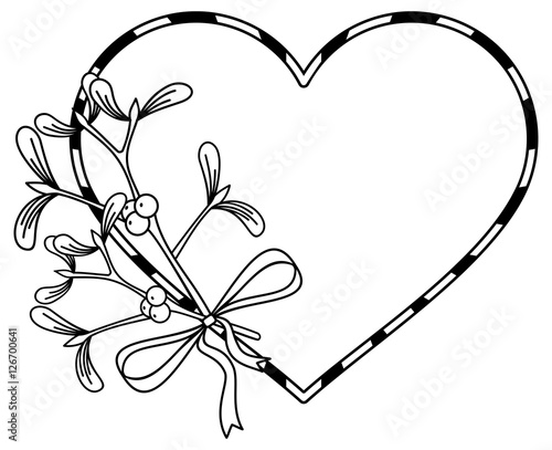 Line Drawing Quiet : Quot heart shaped frame and mistletoe copy space outline