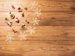 Christmas decorations on wood board background