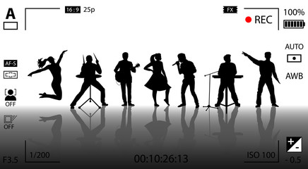 Video recording concept. Set of black silhouettes of musicians, singers and dancers. Vector illustration
