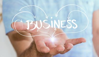 Man holding hand-drawn business presentation