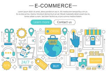 Vector elegant thin flat line E-commerce concept. Website header banner elements layout. Presentation, flyer and poster. Internet mobile online commerce concept.