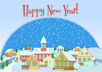 Merry Christmas vector card, cute little town in winter. Happy New Year snow village. Christmas urban and rural city landscape.