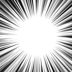 Black and white background action comic book strips. Radial lines for comic books. Manga speed frame, superhero action, explosion background. Vector illustration