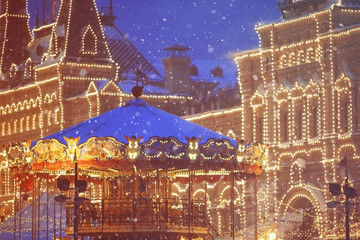 christmas decorations and merry-go-around