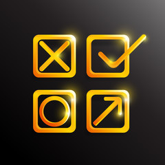 Check , true and false Symbol in gold color. Vector illustration