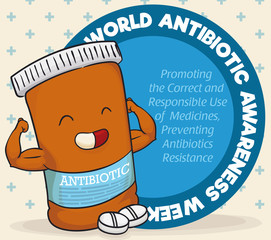 Super Medicine Bottle Character Celebrating World Antibiotic Awareness Week, Vector Illustration