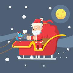 bird talking to santa on sleigh