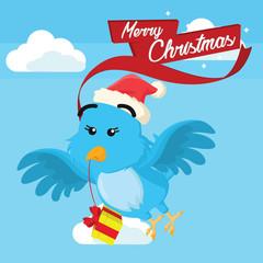 blue bird carrying christmas present