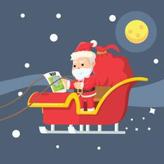 santa looking at map while flying sleigh
