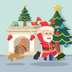 santa chased by dog
