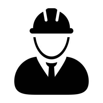 Construction Worker, Employee, Engineer, Person Vector Icon illustration