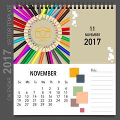 2017 Calendar planner vector design, monthly calendar template f