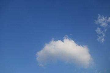 Cloud against clear blue sky background