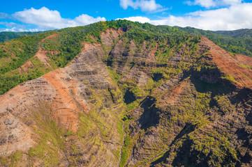 Fototapete - Stunning aerial view of spectacular jungles, Kauai, Hawaii