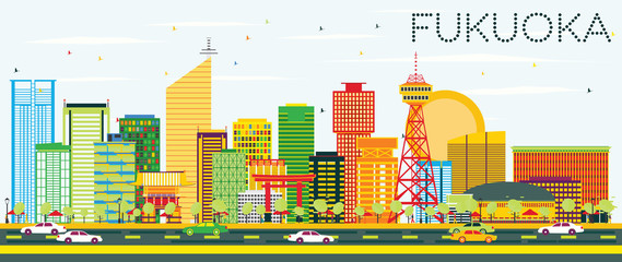 Abstract Fukuoka Skyline with Color Buildings and Blue Sky.