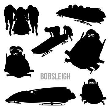 Bobsleigh Bobsledding Bobsled Vector Silhouette Set