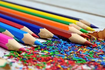 Color pencil shavings