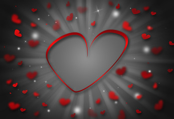 Heart valentine day glitter sparkles defocused rays lights bokeh abstract background.