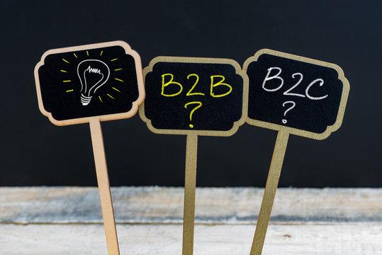 Concept message B2B, B2C and light bulb as symbol for idea