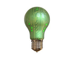 Internet of Things IOT Concept 3d Rendering isolated light bulb on white background