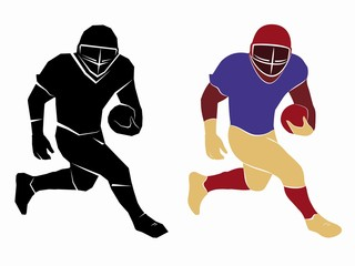 silhouette of a football player. vector drawing