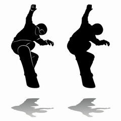 silhouette snowboarders. vector drawing
