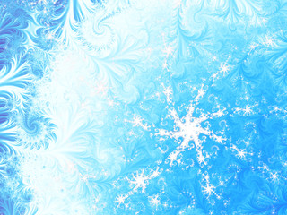 A light blue and white fractal depicting a snowflake on an icy background, suitable for seasonal and holiday designs, books, cards, websites, posters or as a desktop wallpaper.