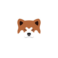 Illustration of Japanese Akita Inu dog.Vector illustration.