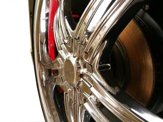 Car wheel on a car isolated background