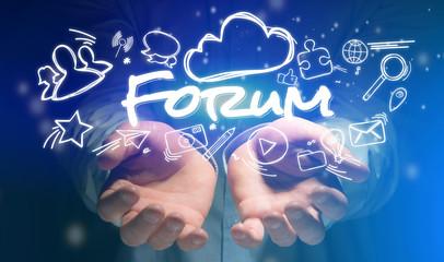 Concept of hands holding forum icon around