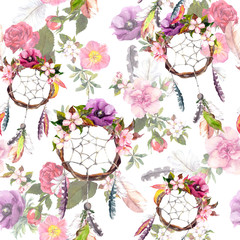 Dream catcher, flowers, feathers. Seamless pattern. Watercolor