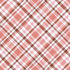 Seamless tartan plaid pattern. Vector checkered wallpaper print. Tartan design in soft red, brown & pink stripes on white background.