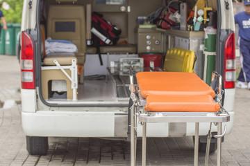 stretcher ambulance prepare accident case selective focus stretc