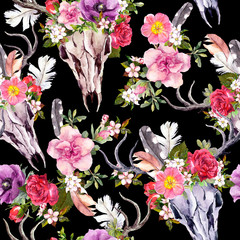 Deer skulls and flowers. Seamless pattern. Watercolor